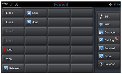 Tasti fanvil c600 sul display