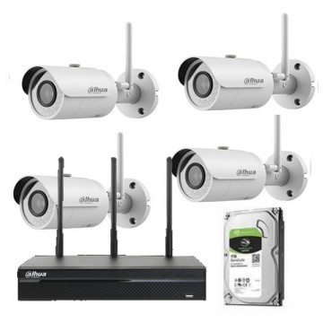 Dahua kit videosorveglianza con 4 telecamere IP wifi, NVR+HDD IPC-KIT001W