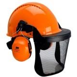 Combinazione per elmetto 3M Forestry, elmetto arancione G3000, cuffie auricolari Optime II, visiera in rete, G3000MOR52V5J