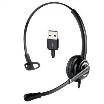 Cuffia mono USB-A Microfono UNC Ezlight Top per ufficio e call center