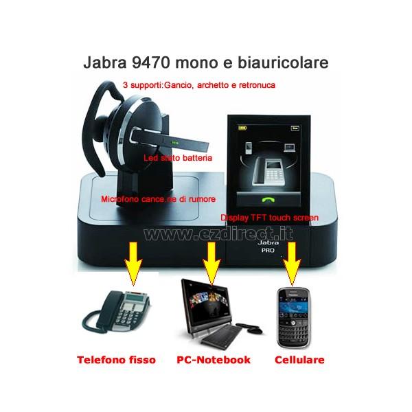Cuffie telefoniche per telefono fisso Pc e dispositivo bluetooth Jabra PRO cc81580a6f33