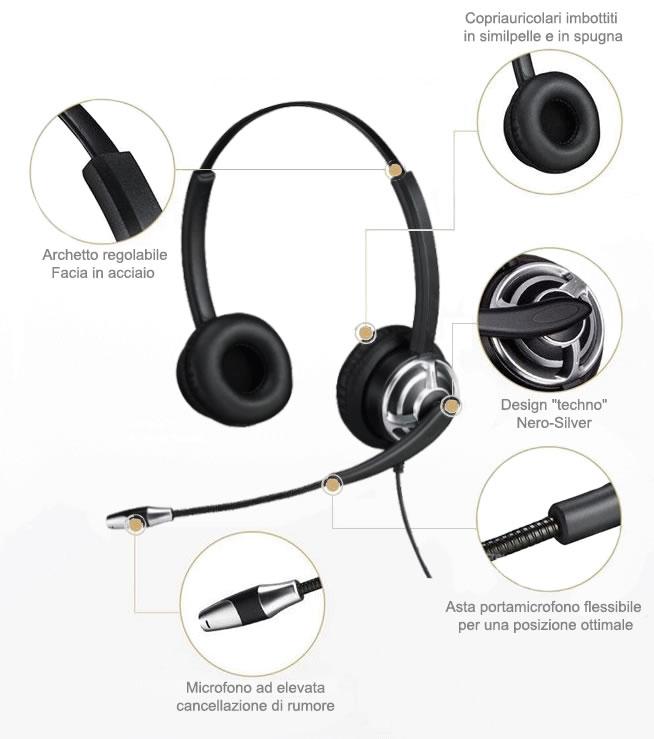 Cuffia stereo usb cancellazione di rumore