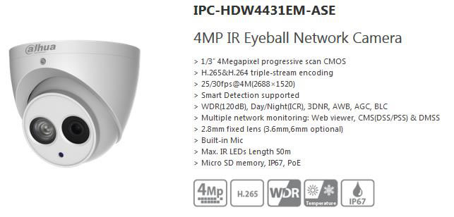 Dahua videocamera IP 4mp IPC-HDW4431EM-ASE