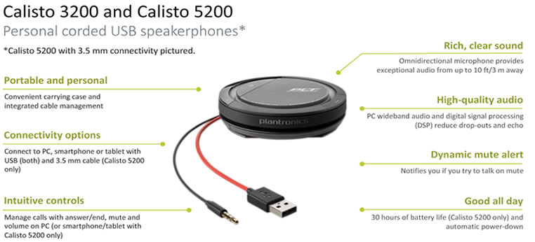 Plantronics Calisto 5200 USB-A funzioni